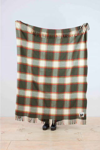 Checked woolen throw in green, red and grey