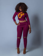 Women's Two Piece Crop Top & Leggings Set - Maroon