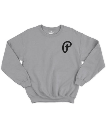 "Men's ""P"" Logo Crewneck - Heather Gray/Black"