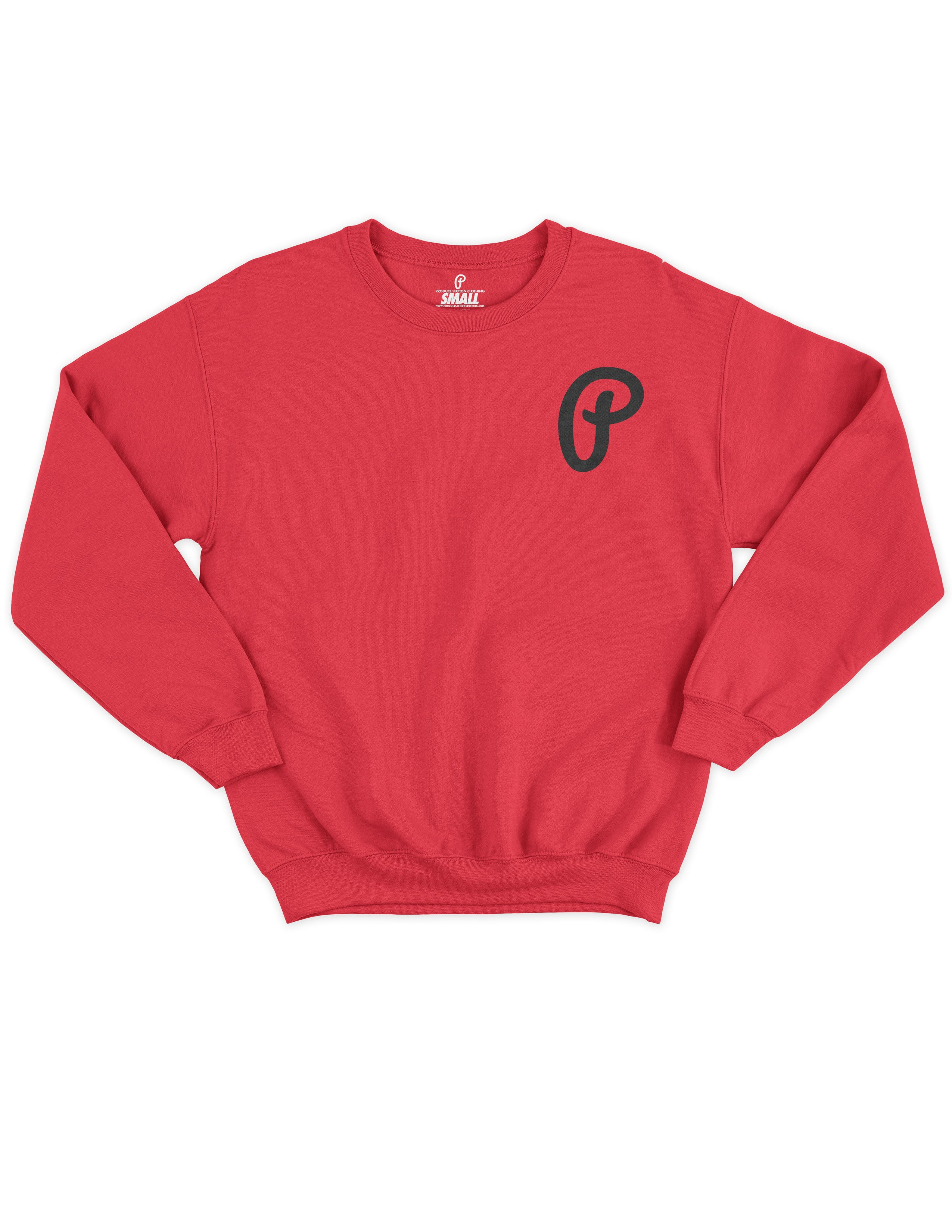 "Men's ""P"" Logo Crewneck -Red/Black"