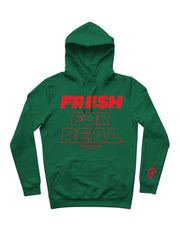 "Men's ""Fresh For Real"" Hoodie - Dark Green/Red"