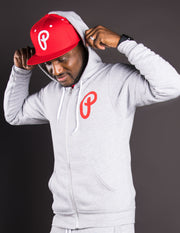 Men's P Logo Full-Zip Hoodie - Heather Gray