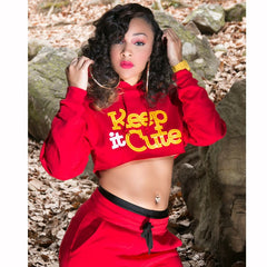 "Women's ""Keep it Cute"" Crop Hoodie"