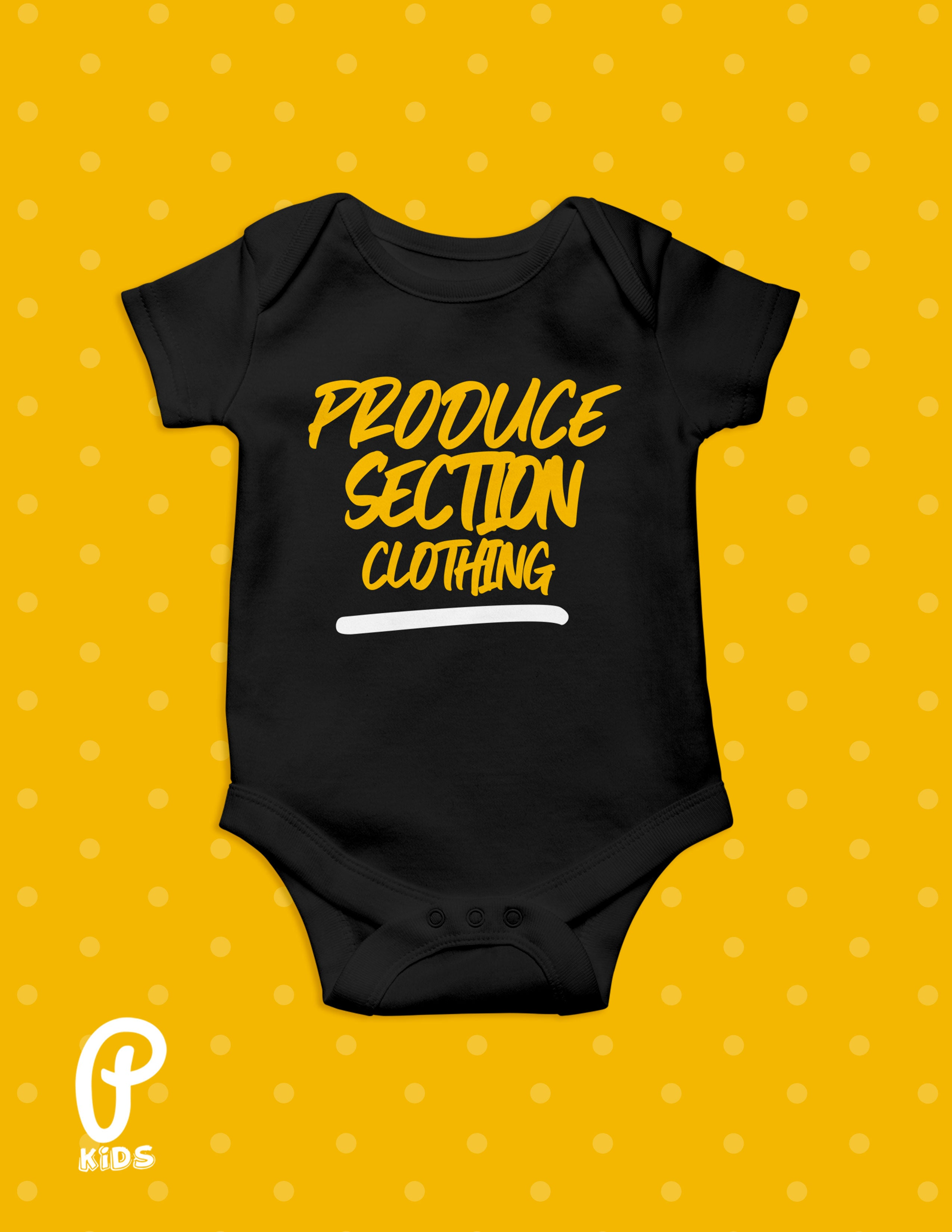 "Kids - ""Little Produce"" Onesie - Black"