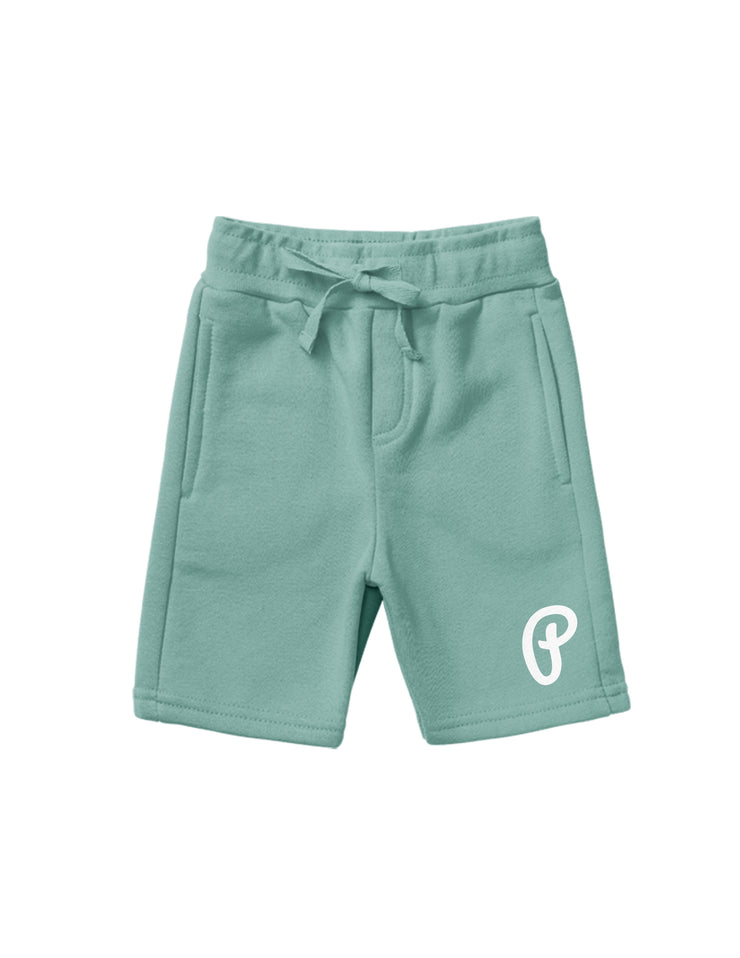 "Unisex ""P Logo"" Fleece Shorts - Mint"