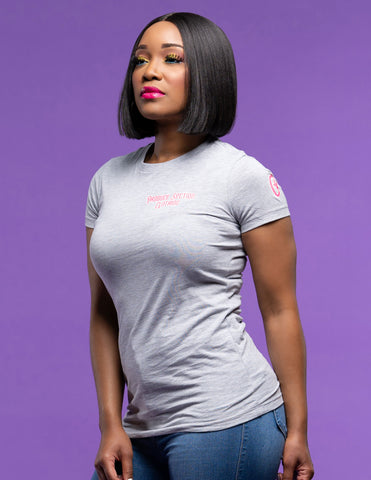 "Women's Highlighter Pink ""Everyday"" Tee - Heather Gray"