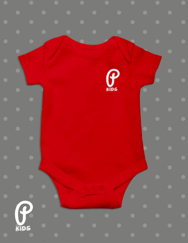 "Kids - ""P Kids"" Logo Onesie - Red"