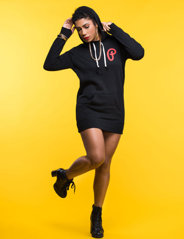 P Logo Hoodie Dress - Black