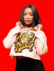 "Women's 3D Puff Patch ""Pretty as a Peach"" Crop Hoodie"