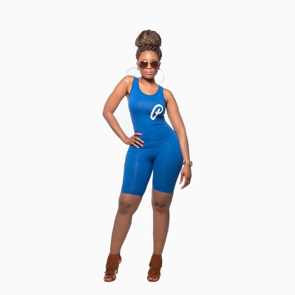 Scoop Neck Bermuda Romper - Royal