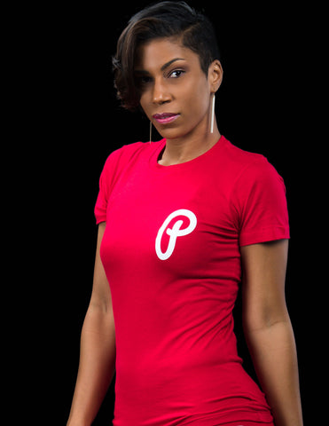 "Women's ""P Logo"" Tee - Red"