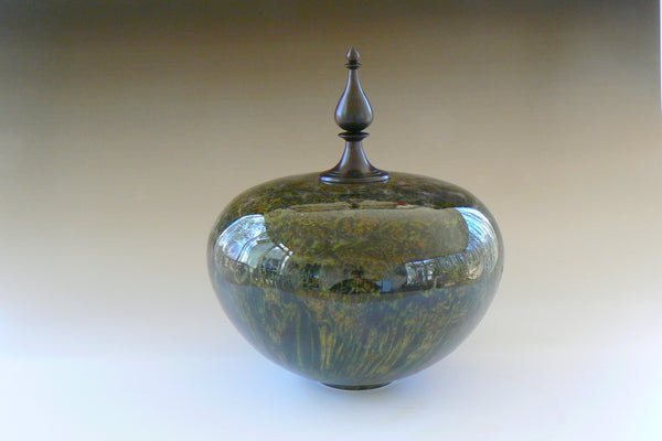 Dyed Burl Hollow Vessel with Finial