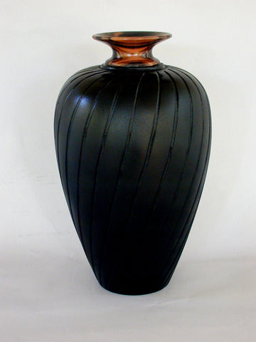 Spiral Carved Black Vase