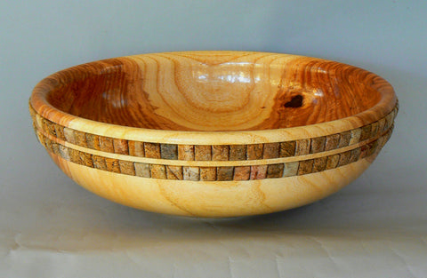 Locust Bowl with Stone Inlay