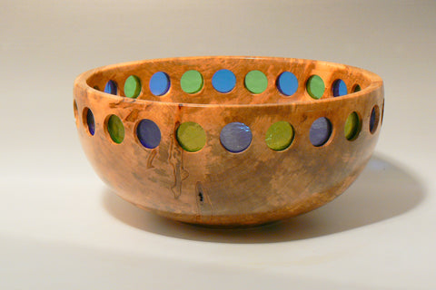Maple Bowl with Inlaid Stained Glass