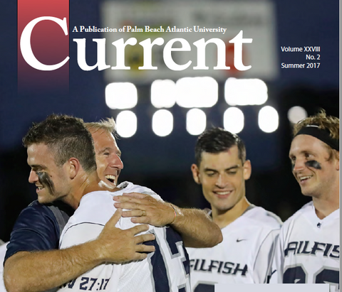 image of Palm Beach Atlantic University's Current Magazine, coach and players on game field
