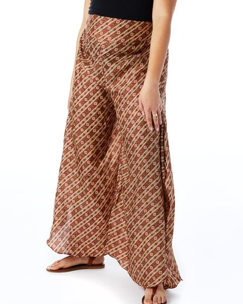 Recycled Sari Palazzo Pants- Brown