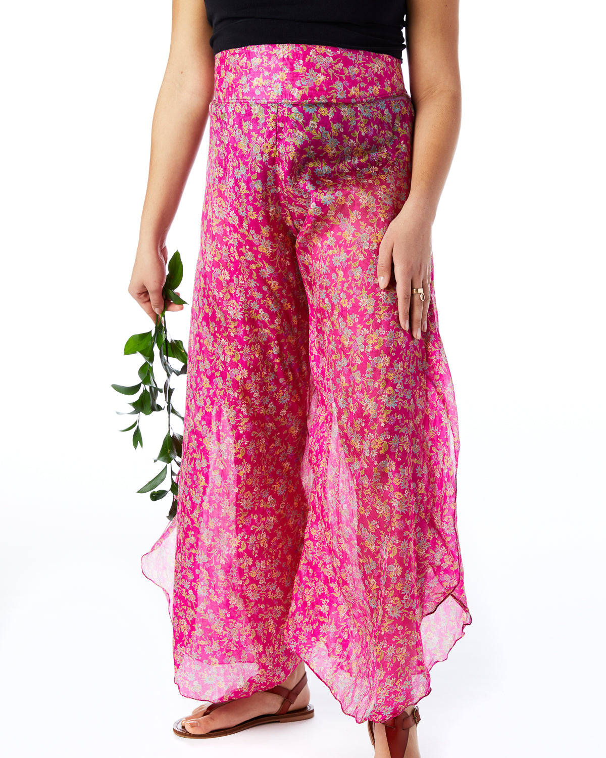 Pink sari palazzo pants hand sewn in India by the NGO Sewing New Futures.