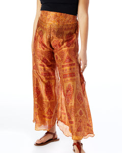 Recycled Sari Palazzo Pants- Orange