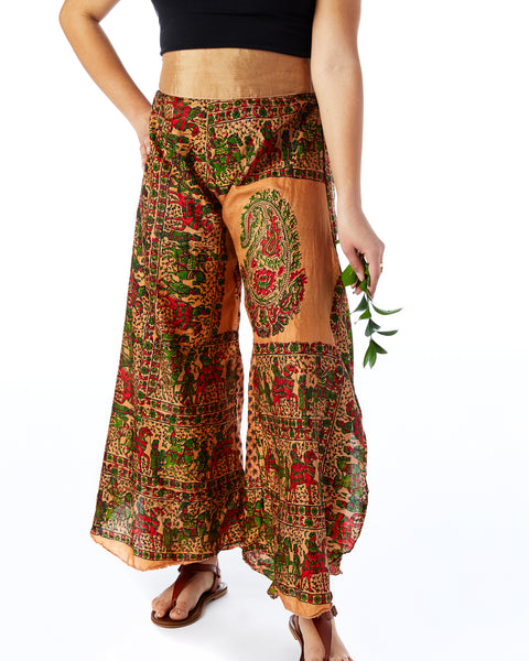 Recycled Sari Palazzo Pants- Classic Indian Design