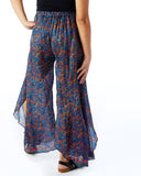 Recycled Sari Palazzo Pants- Mixed Blue