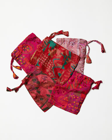 Red Sari Pouches