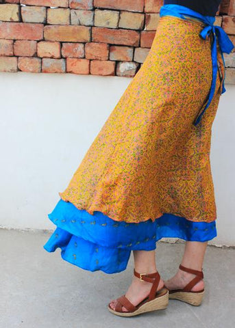 Reversible Sari Skirt - Yellow and Blue