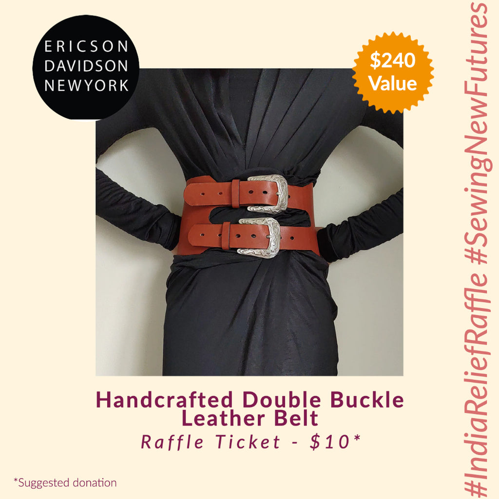 Handcrafted Double Buckle Leather Waist Belt by Ericson Davidson (India Relief Raffle)