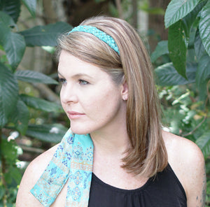 aqua braided tie sari headband made in India by Sewing New Futures