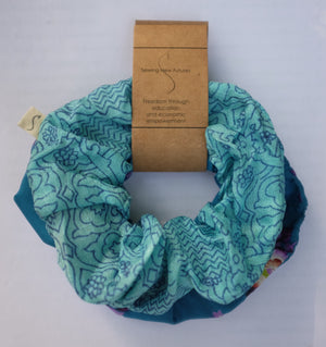 set of two blue scrunchies made from recycled sari fabric