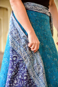 Reversible Sari Skirt - Blue