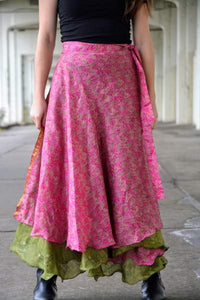 Reversible Sari Skirt - Pink and Green