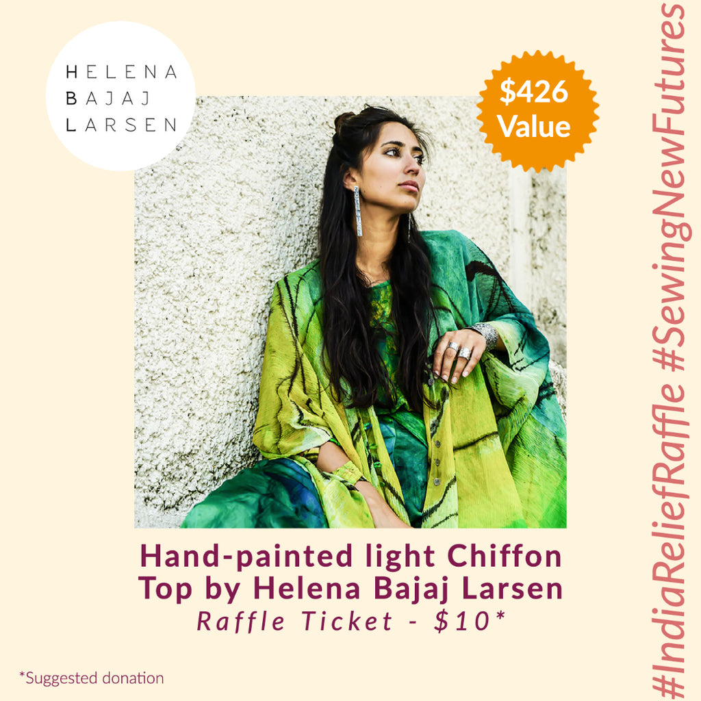 Hand-painted light Chiffon Top by Helena Bajaj Larsen (India Relief Raffle)