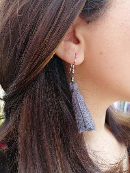 Hand-Made Tassel Earrings Coastal Gray
