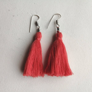 Hand-Made Tassel Earrings Peach