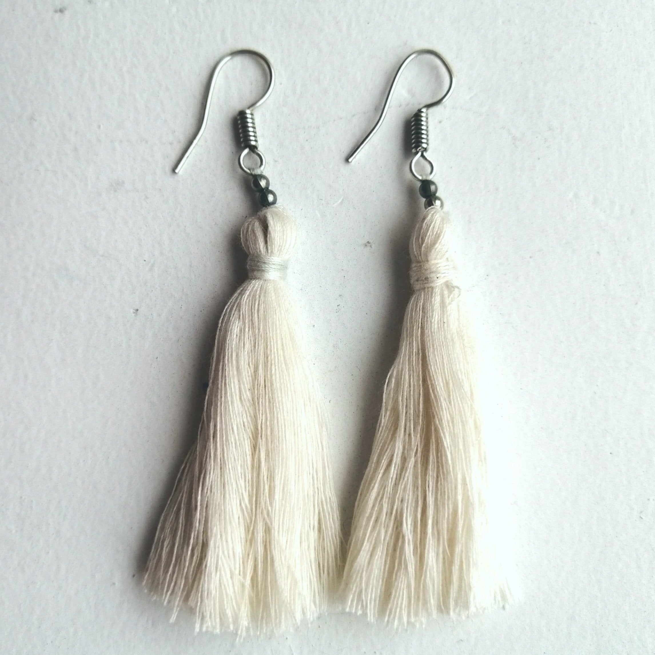 Hand-Made Tassel Earrings Crisp White