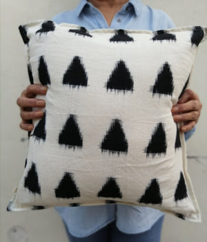 Black and White Double Ikat Cushion Cover