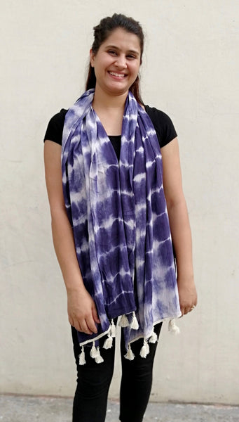 Blue Tie and Dye Long Scarf
