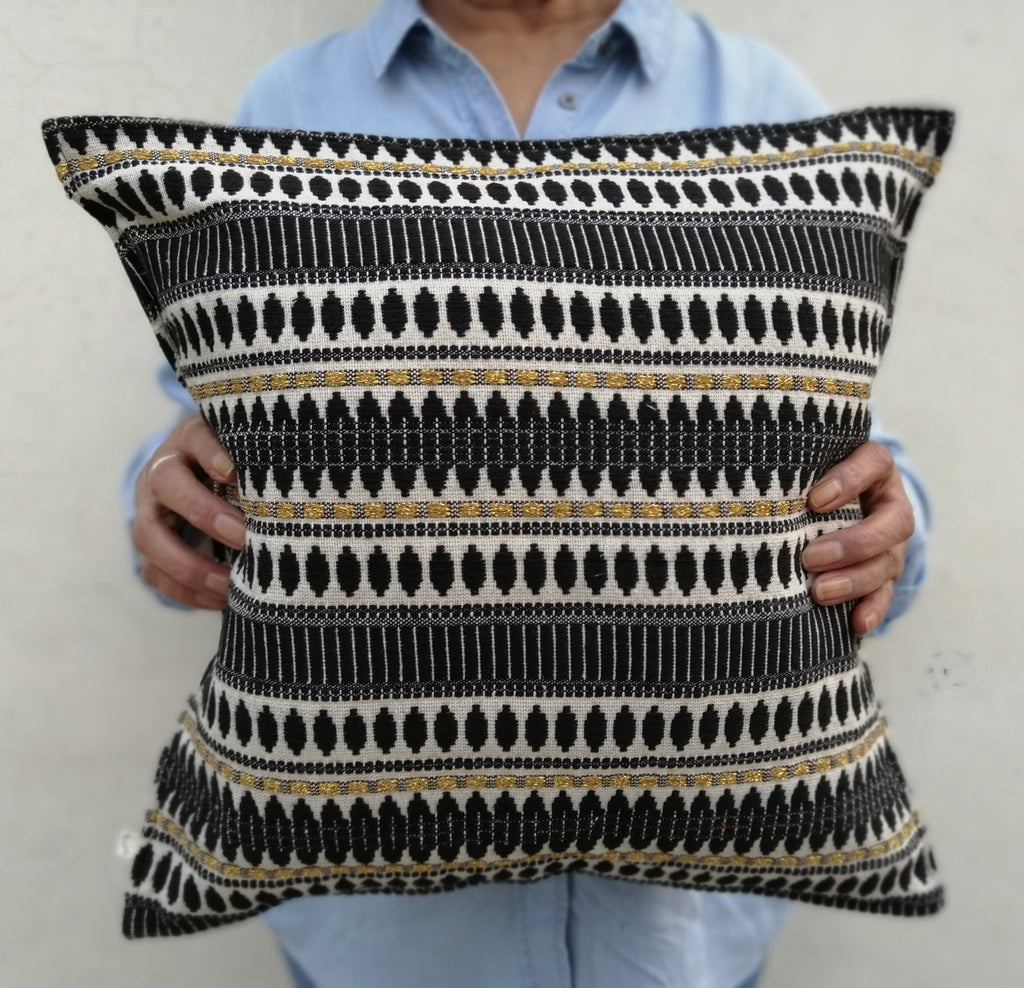 "black, white, and gold jaccard fabric cushion cover 16"" x16"""