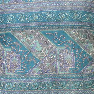 Vintage Blue Sari Cushion Cover