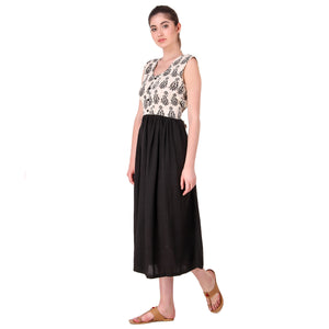 Black and White Block Print Kurta dress
