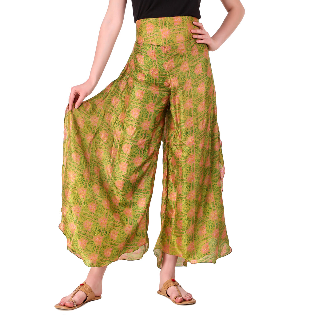 Green sari palazzo pants hand sewn in India by the NGO Sewing New Futures.