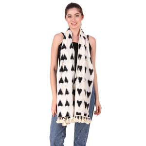 Black on White Double Ikat Scarf