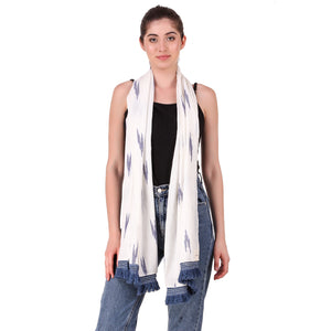 Blue on White Ikat long Scarf