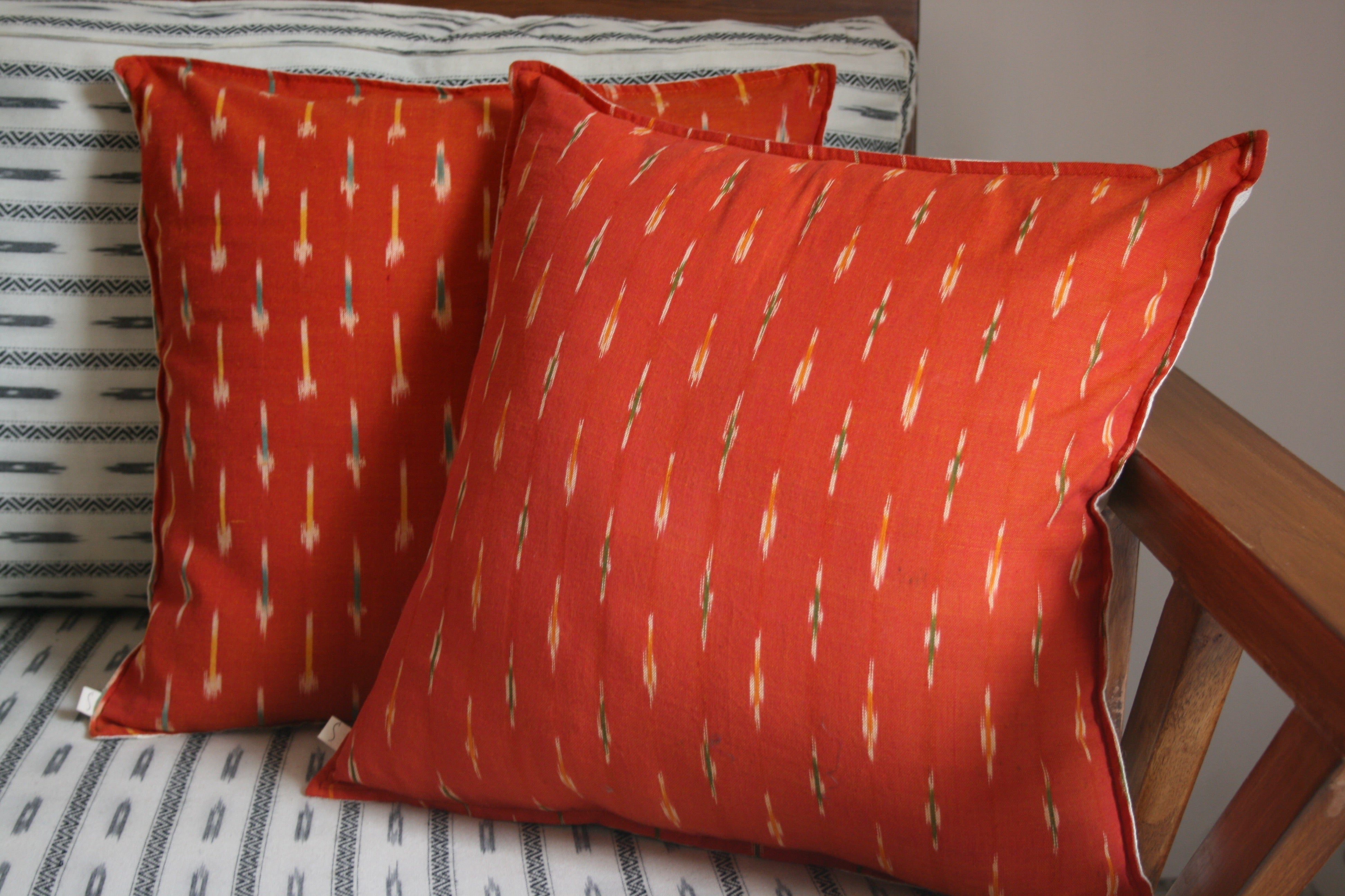 Clay Ikat Pillow Cushion Cover