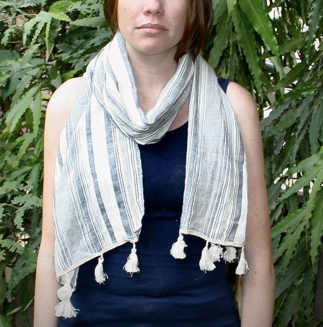 Dobby white and gray striped scarf with cotton tassels handspan by Sewing New Futures