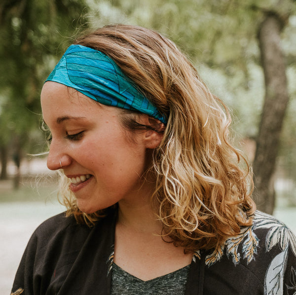 Blue Geo Silk Sari Headband