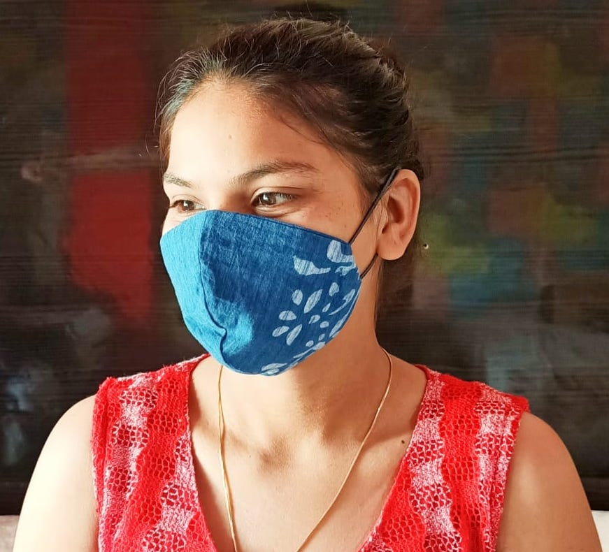 Block Print 2-layer Cloth Mask, Adjustable Elastic Ear Loops