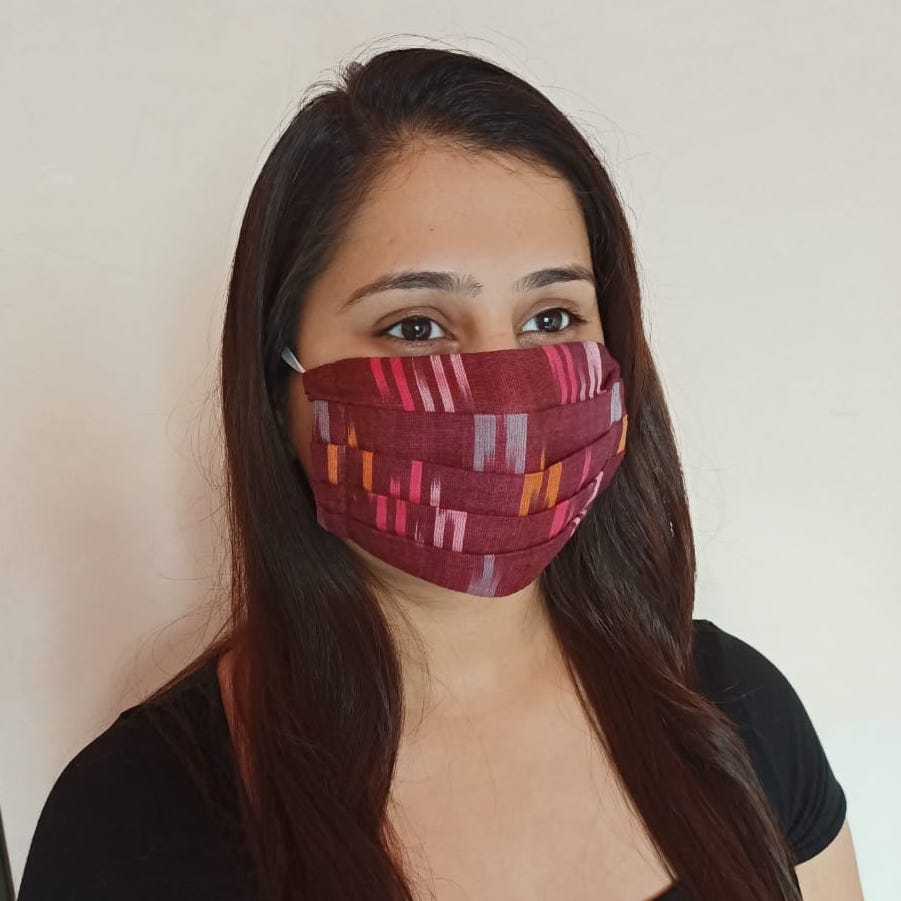 Pre-order: Tri-color Ikat Pleated Double Layer Cloth Mask with Elastic Ear Loops