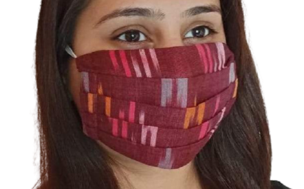 Tri-color Ikat Pleated Double Layer Cloth Mask with Elastic Ear Loops